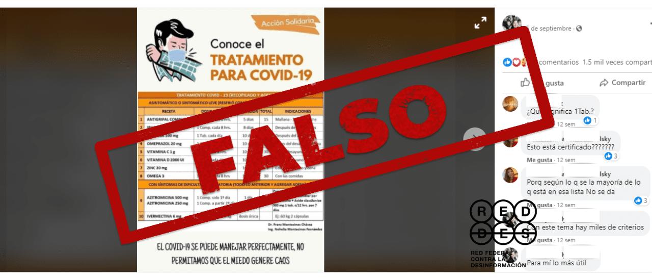 Es falso el cuadro que recomienda distintos tratamientos contra la COVID-19