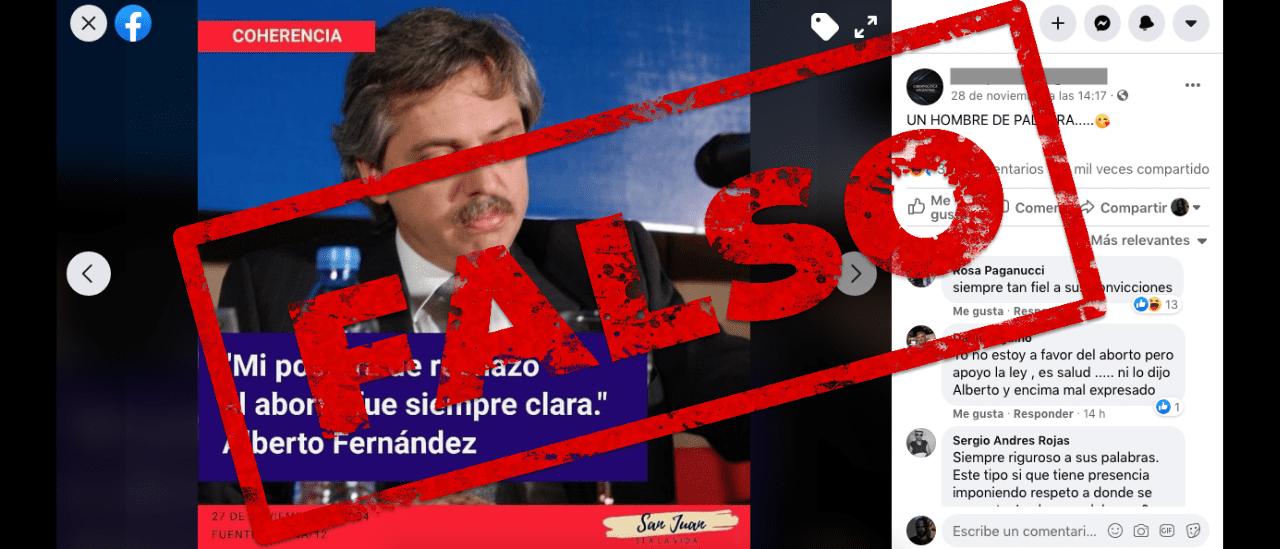 """Es falso que Alberto Fernández dijo en 2004: """"Mi postura de rechazo al aborto fue siempre clara"""""""