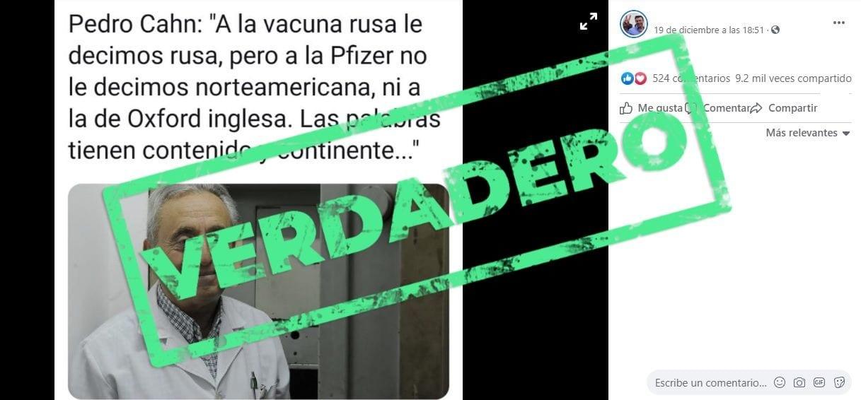 Son verdaderos los dichos atribuídos a Pedro Cahn sobre cómo se nombra a las diferentes vacunas