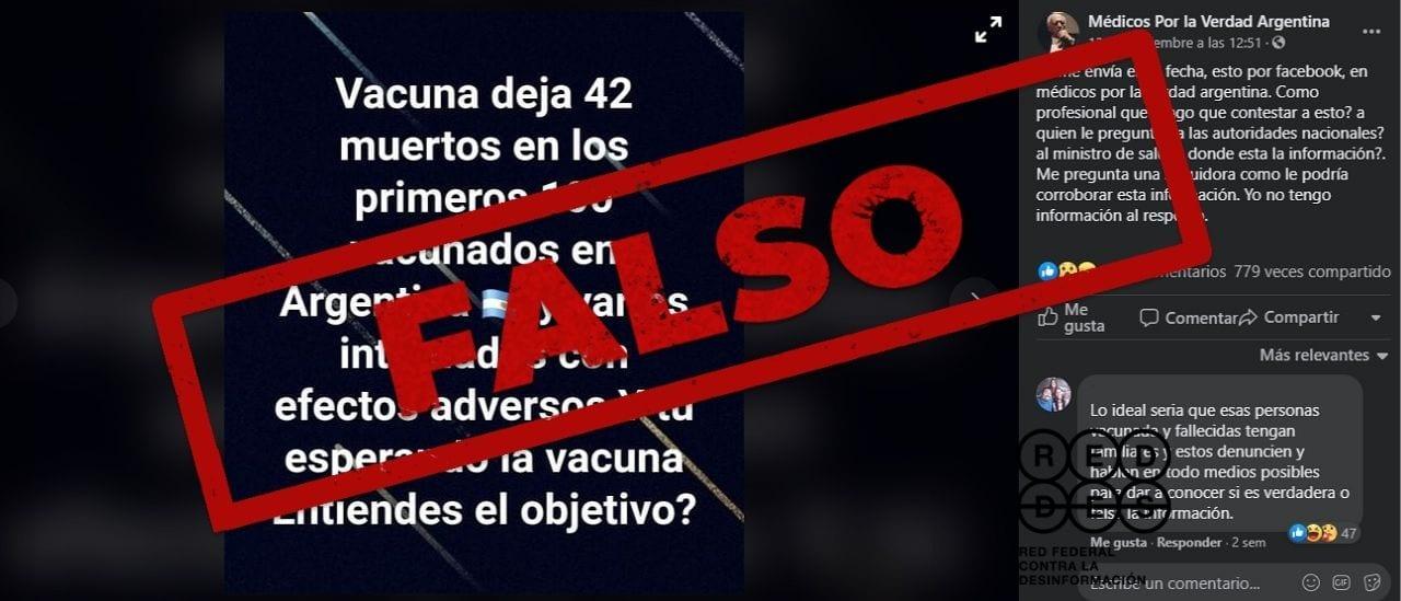 Es falso que hayan muerto 42 de los primeros 100 vacunados en la Argentina