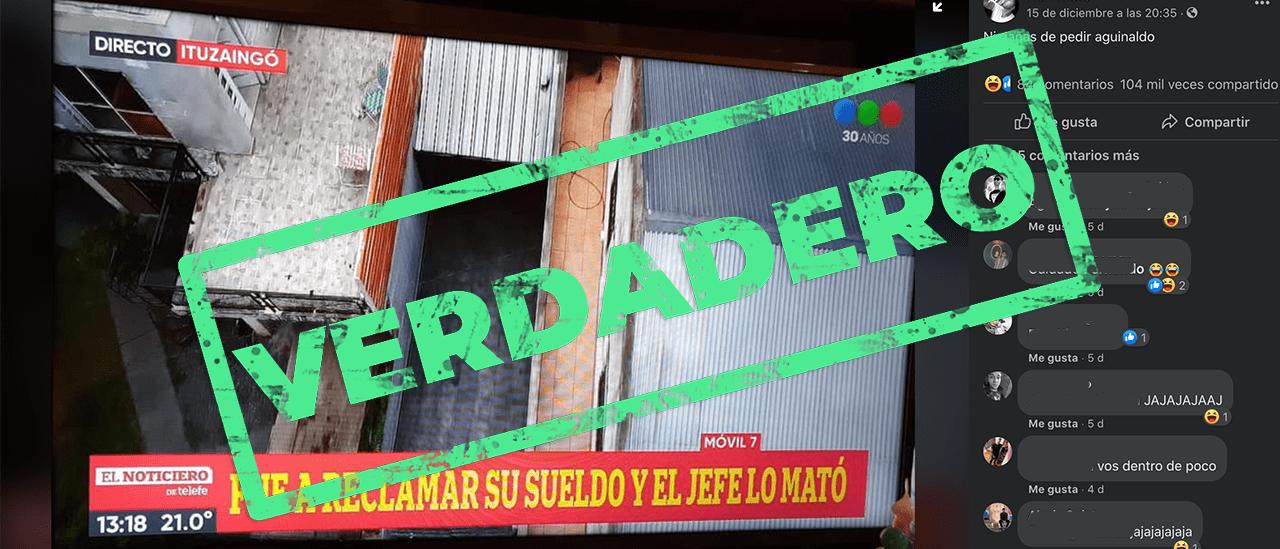 Es verdadera la captura del noticiero de Telefe sobre el empleado asesinado por su jefe