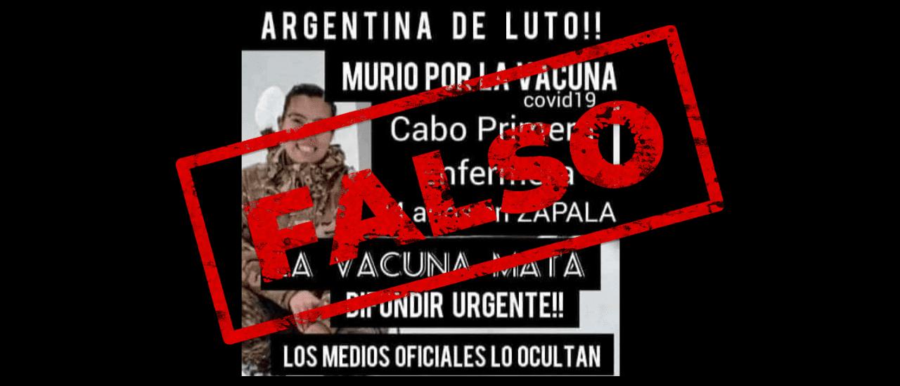 Es falso que una enfermera del Ejército murió luego de la aplicación de la vacuna Sputnik V
