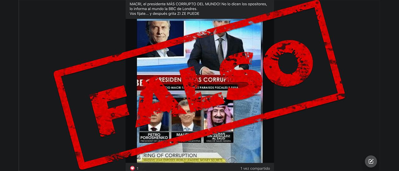 """Son falsas las capturas que señalan a Macri como el """"presidente más corrupto del mundo"""""""