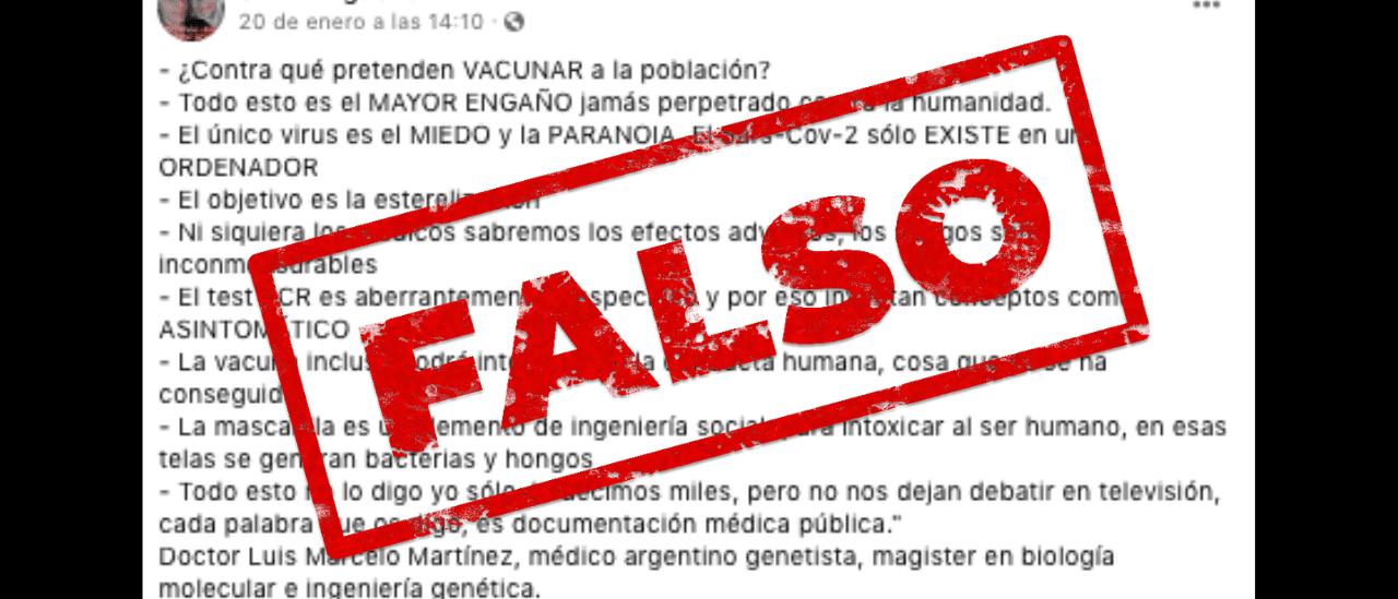 Son falsas las afirmaciones del médico Luis Martínez que circulan en una cadena viral (parte II)