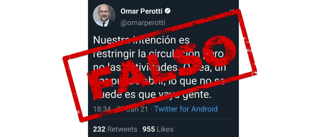 """No, Perotti no publicó un tuit ni dijo: """"Un bar puede abrir, lo que no se puede es que vaya gente"""""""