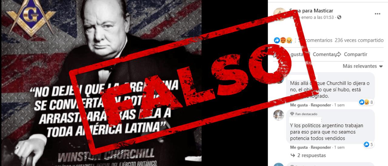 """Es falso que Churchill dijo: """"No dejen que la Argentina se convierta en potencia, arrastrará tras ella a toda América Latina"""""""