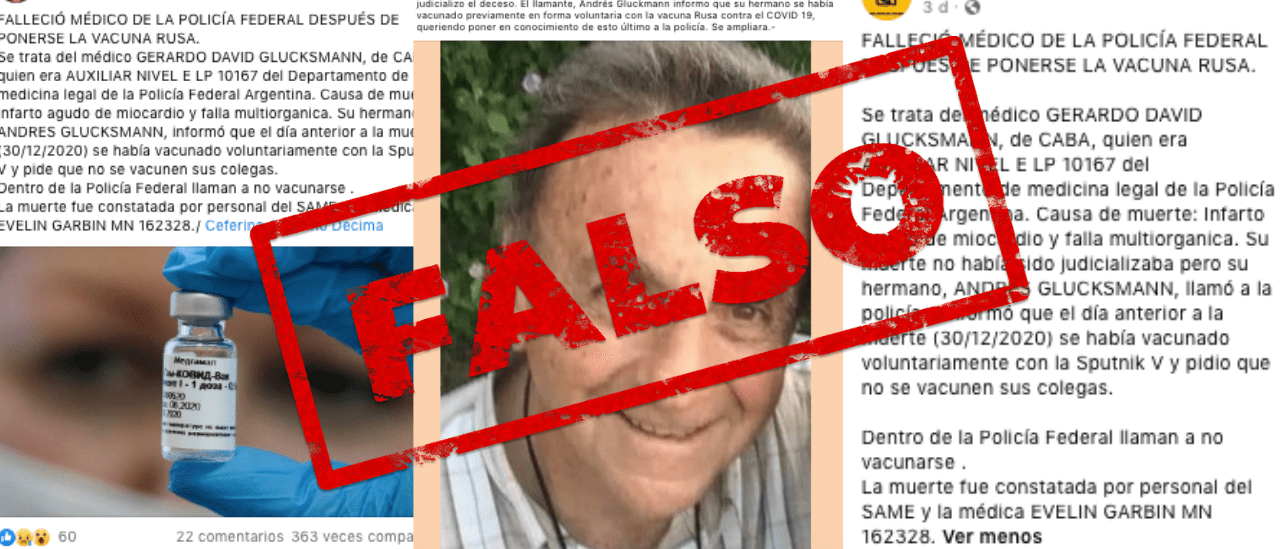 Es falso que un médico de la Policía Federal murió luego de recibir la vacuna Sputnik V