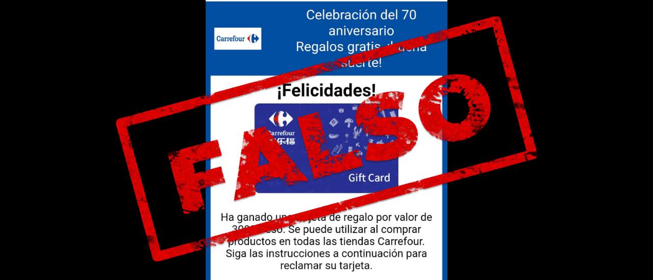 Es falso la cadena que indica que Carrefour está entregando tarjetas con dinero para festejar su 70º aniversario