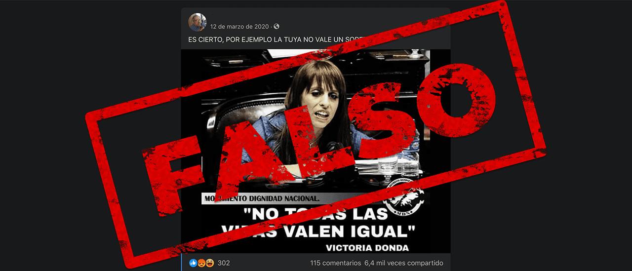 """Es falso que Victoria Donda dijo: """"No todas las vidas valen igual"""""""
