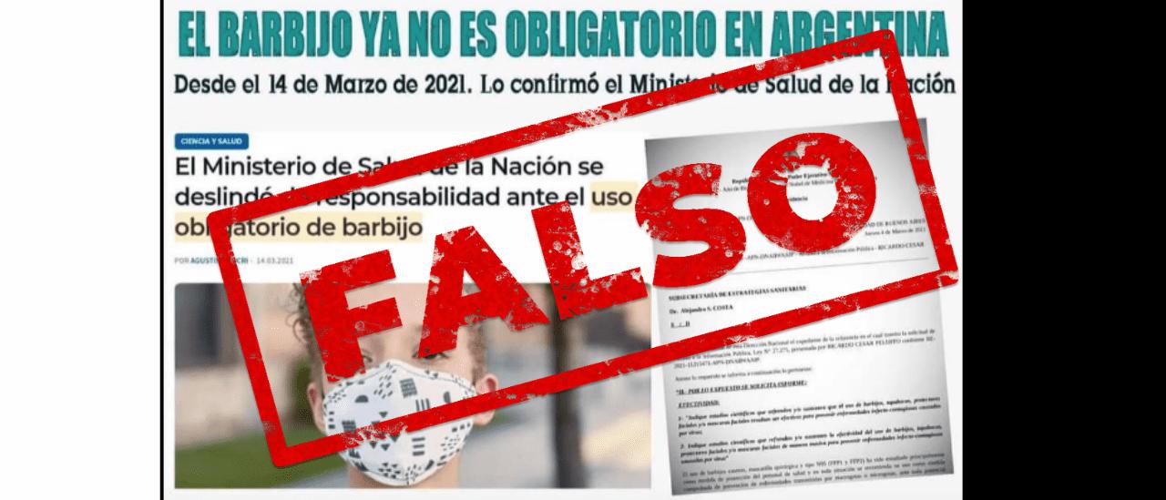 Es falso que el barbijo ya no es obligatorio en la Argentina como señala un posteo en Facebook