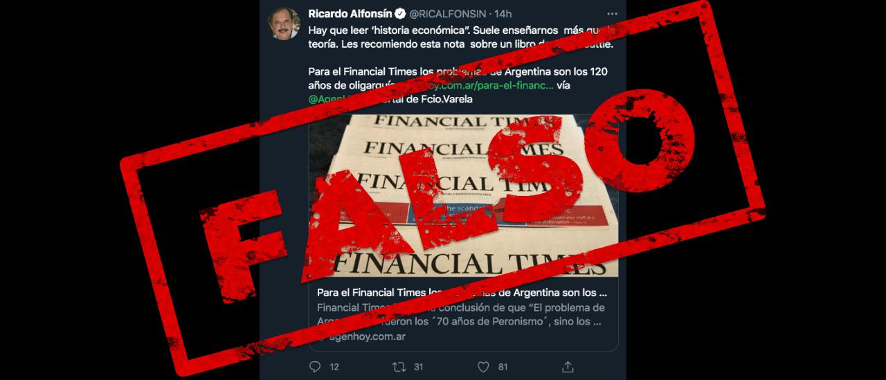 """Es falso que para el Financial Times """"los problemas de Argentina son los 120 años de oligarquía"""""""