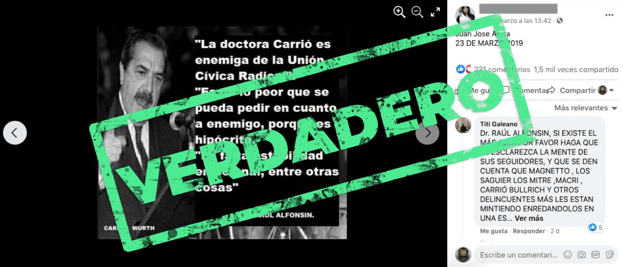 Son verdaderas las frases de Raúl Alfonsín con críticas a Elisa Carrió