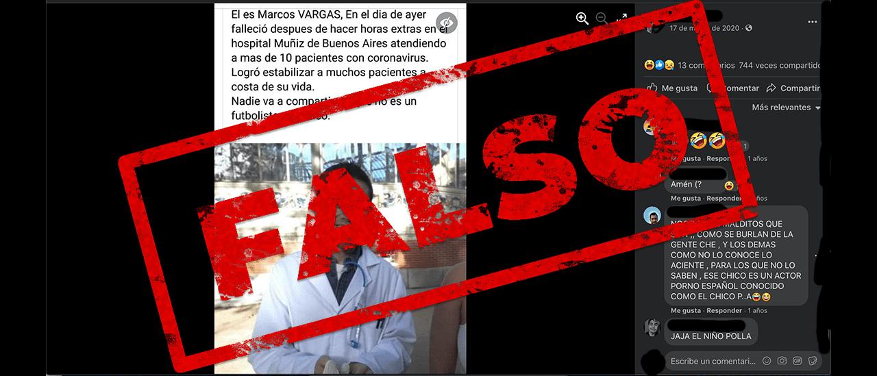 """Es falso que en el Hospital Muñiz murió un médico llamado """"Marcos Vargas"""" por atender pacientes con coronavirus"""