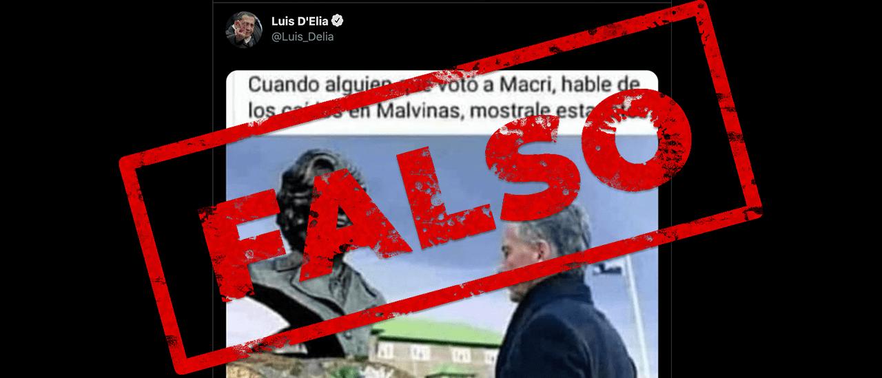 Es falsa la foto de Macri frente al busto de Thatcher que tuiteó Luis D' Elía