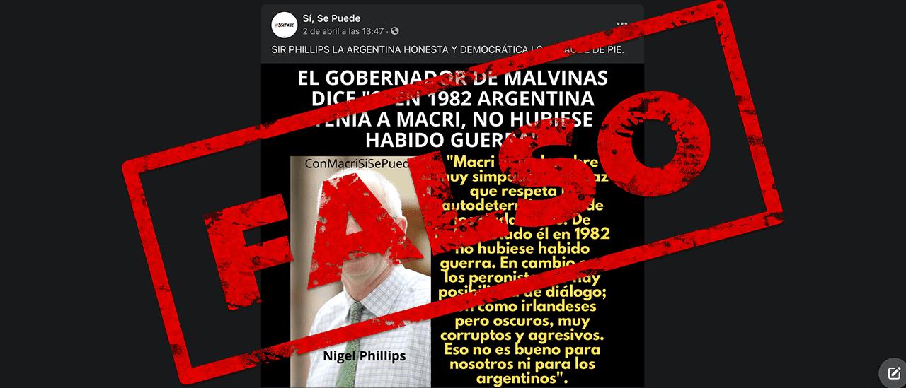 """Es falso que el Gobernador de Malvinas dijo que con Macri """"no hubiese habido guerra"""""""