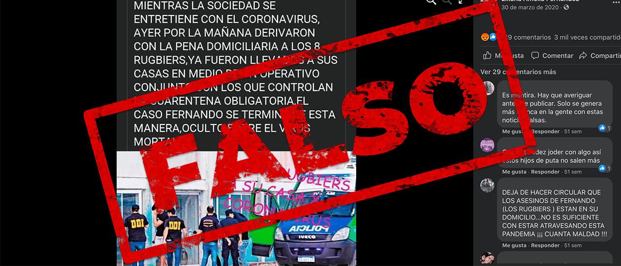 Es falso que los acusados del crimen de Báez Sosa gozan de prisión domiciliaria