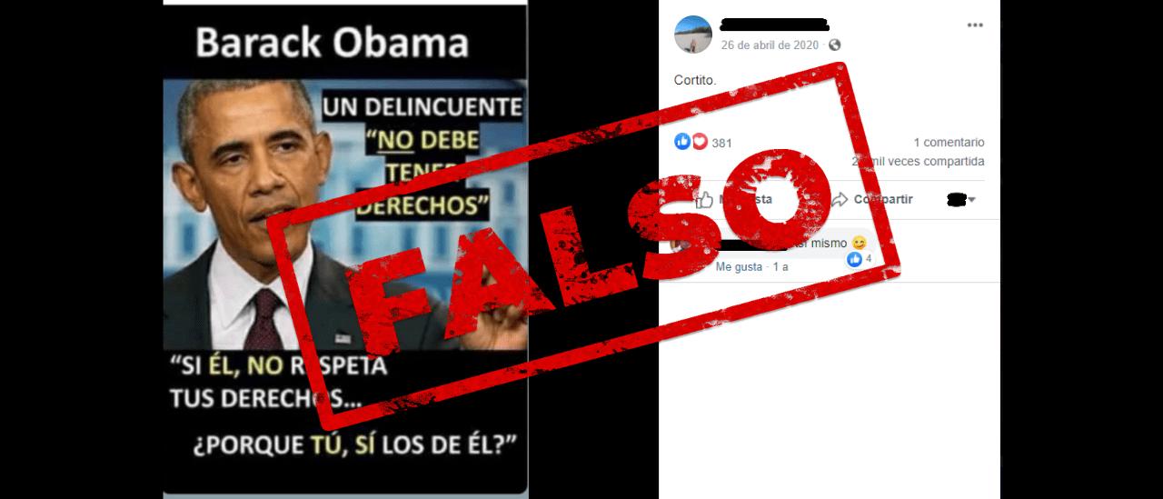 """Es falso que Barack Obama haya declarado que """"un delincuente no debe tener derechos"""""""