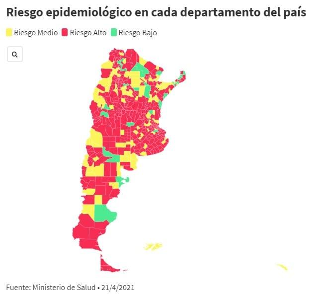 El 75% de los departamentos de más de 40 mil habitantes están en alto riesgo epidemiológico