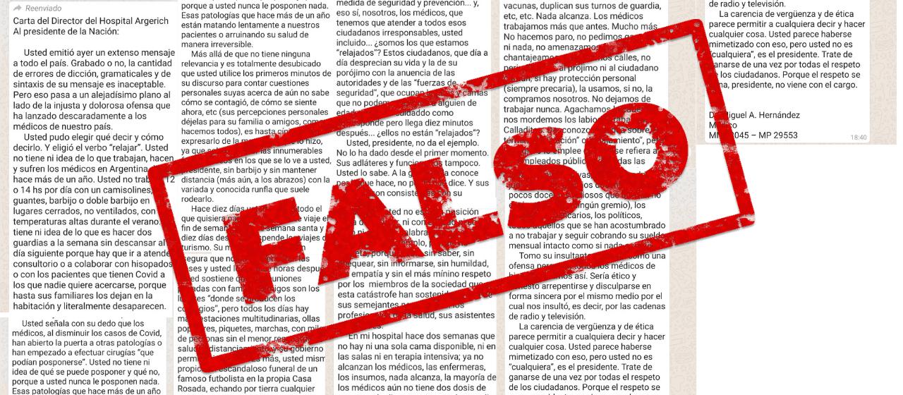 No, el director del Hospital Argerich no le envió una carta a Alberto Fernández cuestionando sus dichos sobre el sistema sanitario