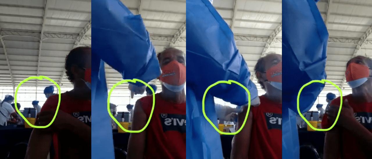 Al hombre de este video no le inyectaron la vacuna, pero luego sí lo hicieron y el enfermero fue detenido