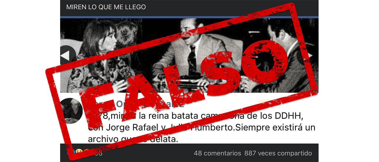 Es falsa la foto de CFK, Videla y Grondona juntos en 1978