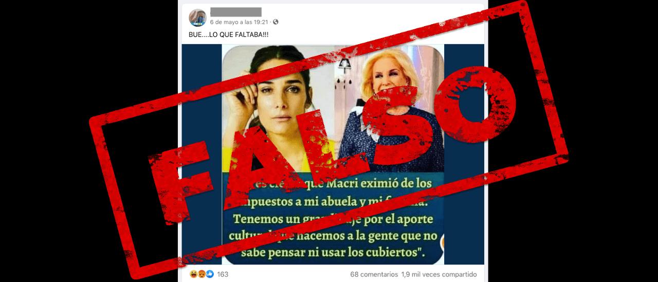"""Es falso que Juana Viale dijo que """"Macri eximió de los impuestos"""" a su abuela y a su familia"""