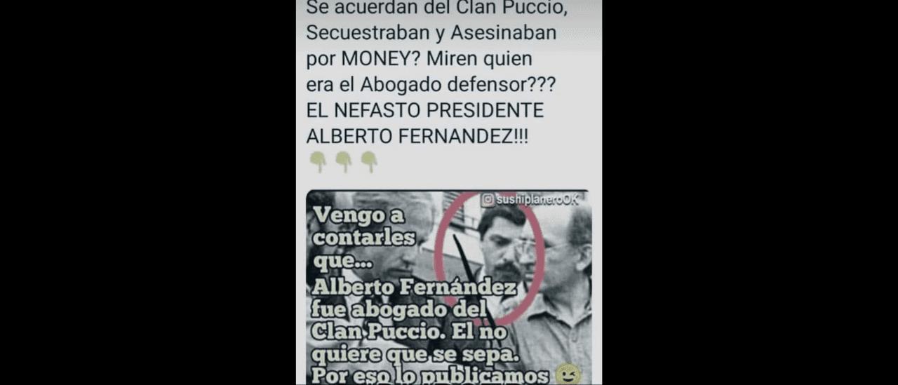 Le falta contexto a la publicación que vincula a Alberto Fernández con un socio del clan Puccio