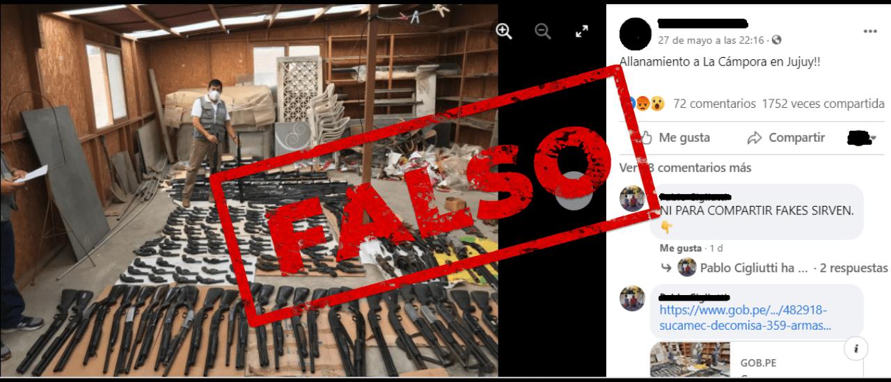 Es falso que encontraron armas en un allanamiento a un local de La Cámpora en Jujuy