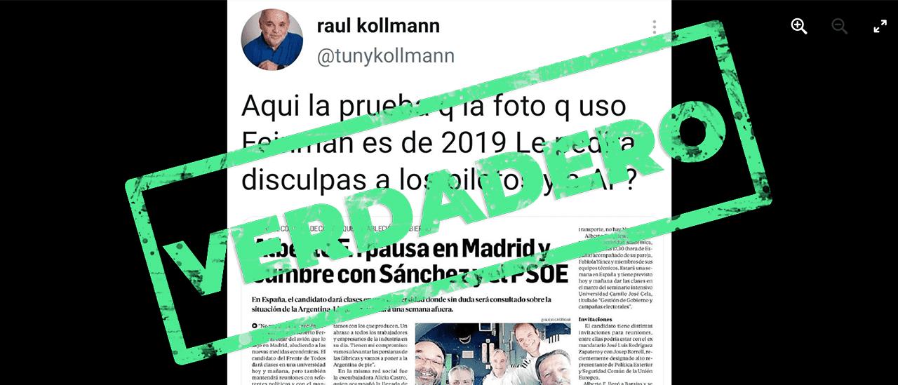 Es verdadero que la foto de Fernández con pilotos en la cabina del avión, sin barbijos, es de 2019 y no de 2021
