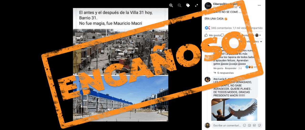 """Es engañosa la comparación de imágenes del """"antes y después de la Villa 31"""""""