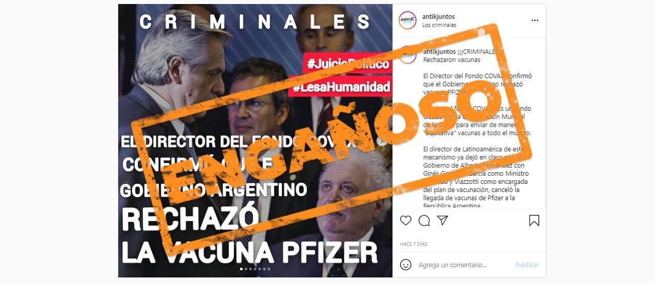 Es engañoso decir que el Gobierno argentino rechazó la vacuna de Pfizer a través del Fondo COVAX