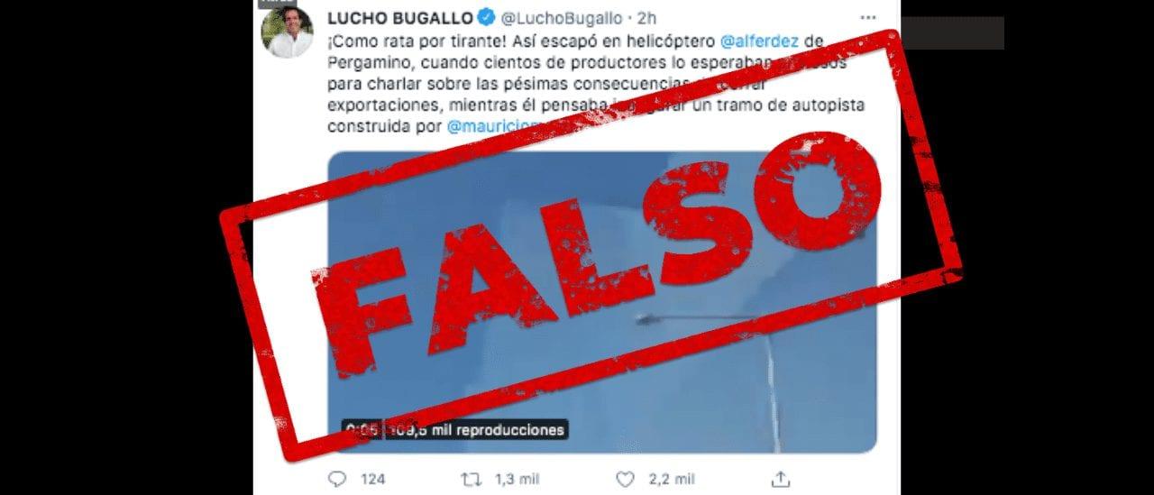 """Es falso que el presidente Alberto Fernández se """"escapó en helicóptero"""" de Pergamino"""