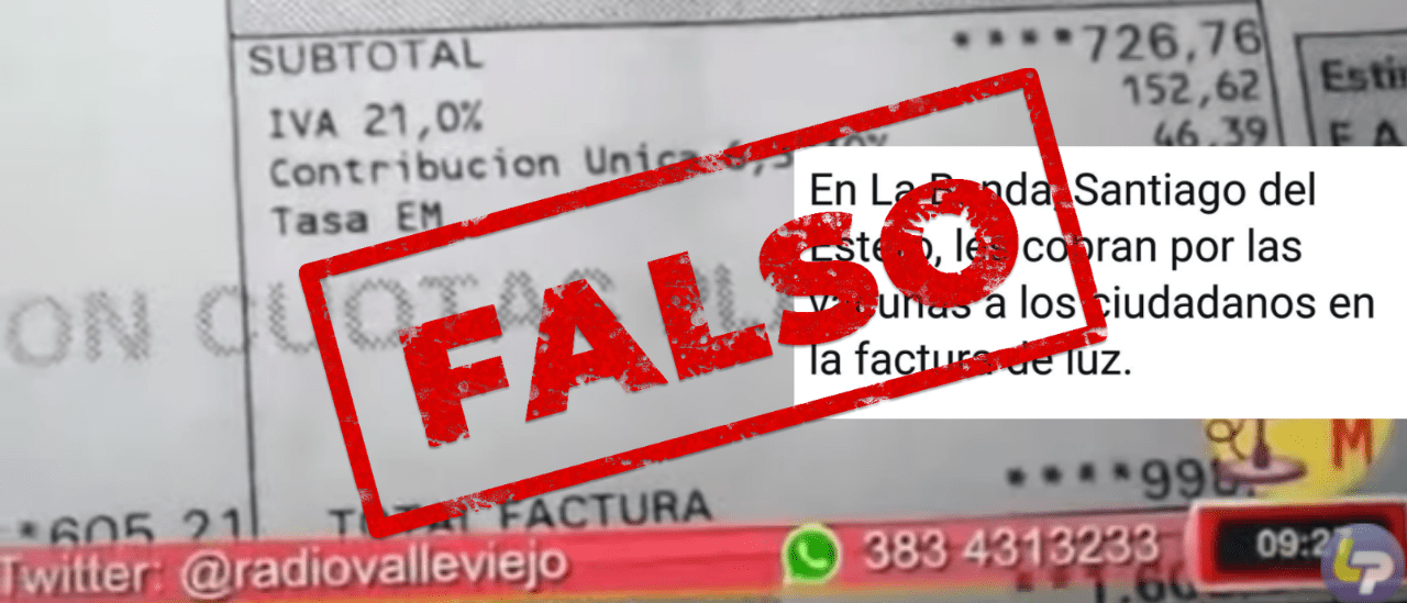 Es falso que en Santiago del Estero cobran las vacunas contra el coronavirus en la factura de la luz