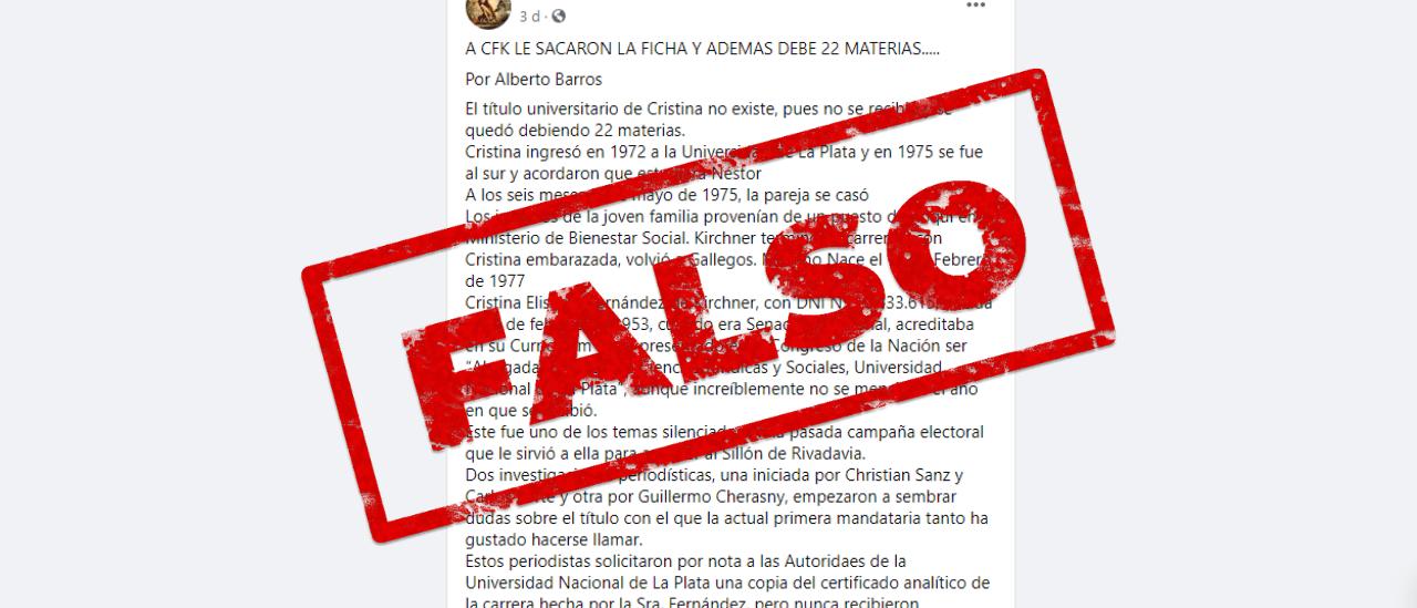 Es falso que Cristina Fernández de Kirchner no es abogada y debe 22 materias