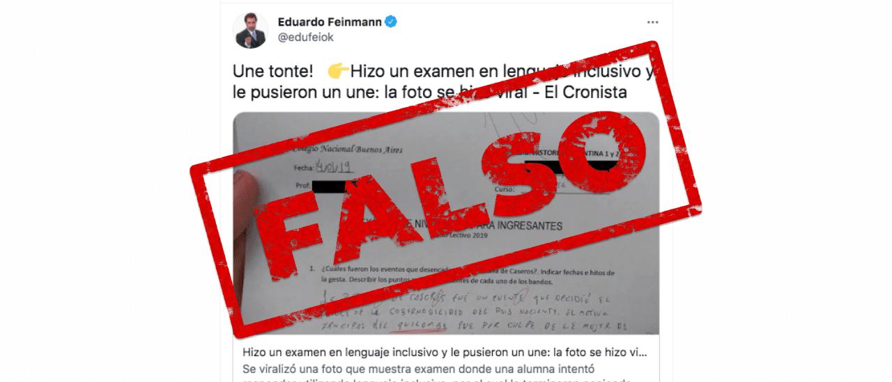 """Es falso el examen del Colegio Nacional de Buenos Aires completado con lenguaje inclusivo y aplazado con un """"une"""""""