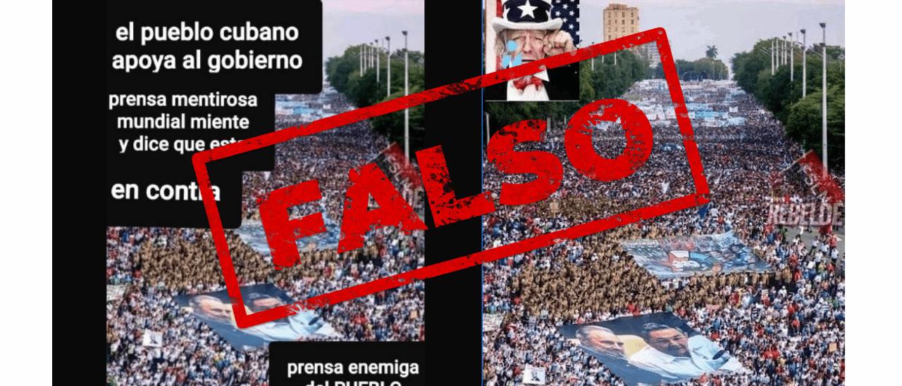 Es falsa la foto que circula de una movilización multitudinaria en Cuba; es un montaje con 2 imágenes de 2017