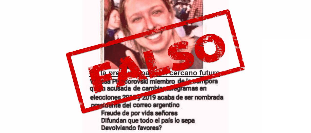 Es falso que la presidenta del Correo Argentino fue denunciada por manipular telegramas de escrutinio en 2015 y 2019