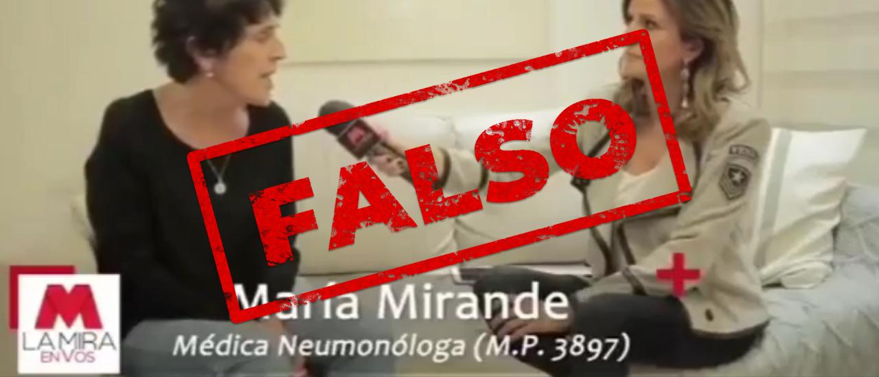 Son falsas varias afirmaciones sobre el coronavirus de la neumonóloga Mirande en una entrevista televisiva