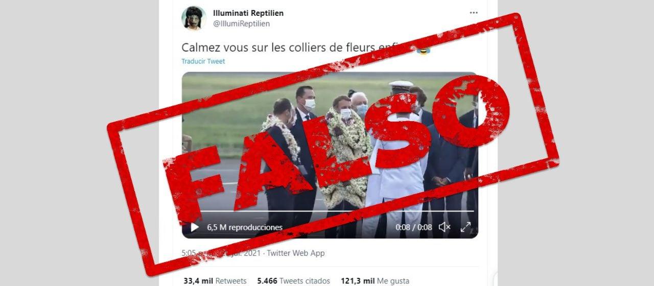 No, Macron no fue completamente cubierto de flores en su visita a Tahití; es un video editado