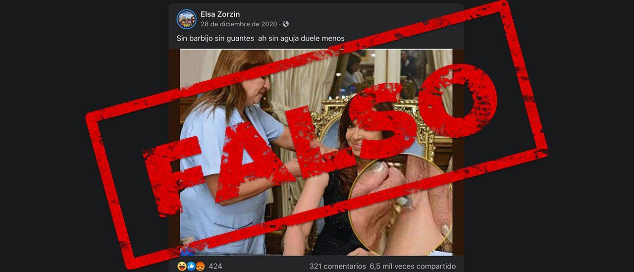 No, Cristina Fernández de Kirchner no fue vacunada contra el coronavirus sin barbijo y sin aguja