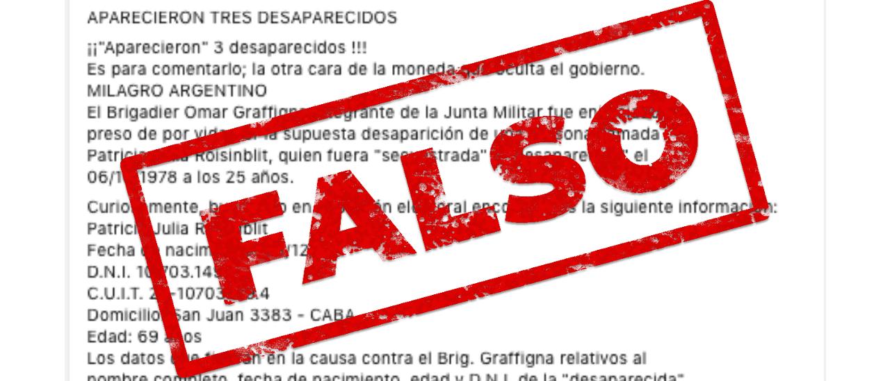 Es falso que están vivos 3 desaparecidos de la última dictadura como señala una publicación viral