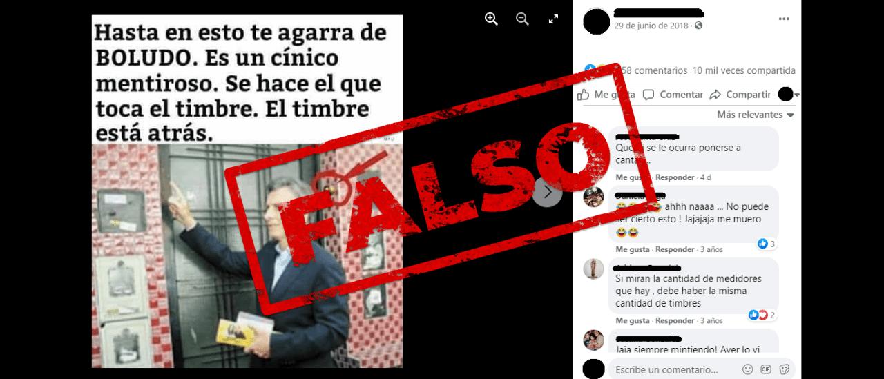 Es falsa la imagen que muestra a Macri simulando tocar el timbre de una vivienda