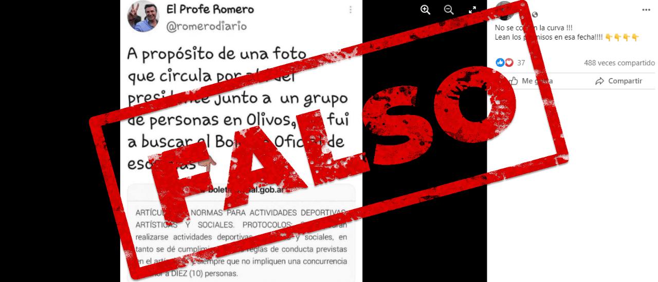 Es falso que estaban habilitadas las reuniones sociales cuando se hizo en Olivos el festejo de cumpleaños de Yáñez
