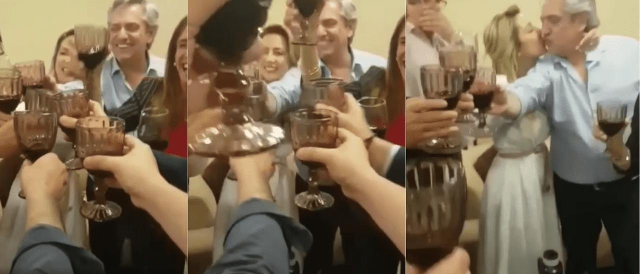 No, no es actual ni de 2020 el video de Fernández brindando con Tolosa Paz; es del triunfo electoral de 2019