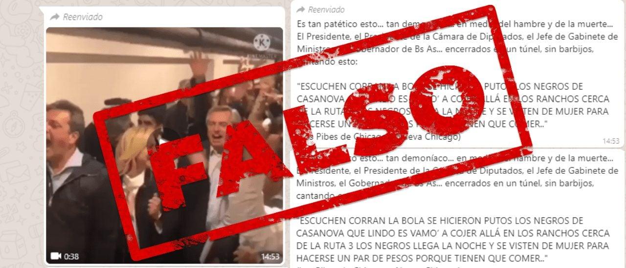 Es falso el video de los líderes del Frente de Todos festejando con una canción homofóbica y transfóbica