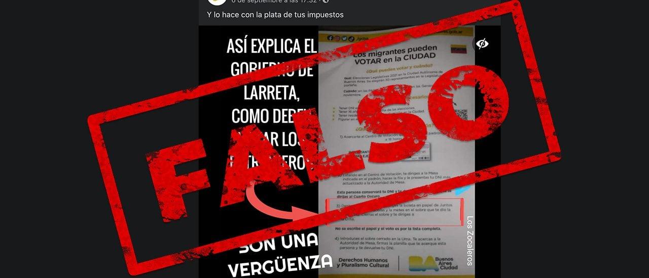 No es oficial la guía electoral para migrantes del gobierno porteño que indica poner una boleta de Juntos por el Cambio