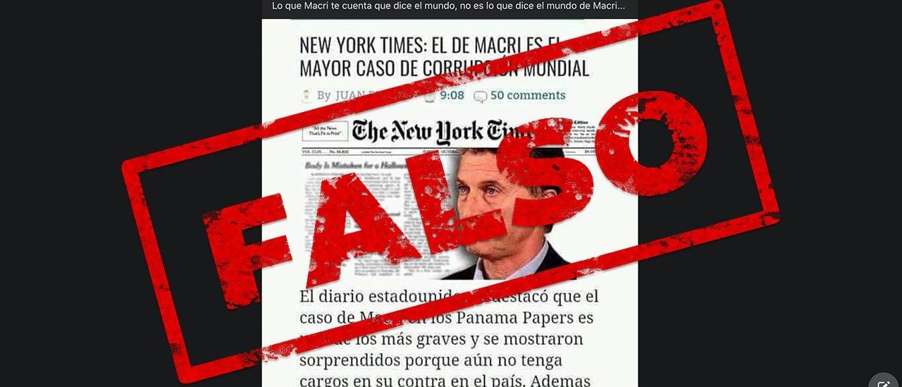 """Es falso que, según el New York Times, """"el de Macri es el mayor caso de corrupción mundial"""" por el caso Panama Papers"""