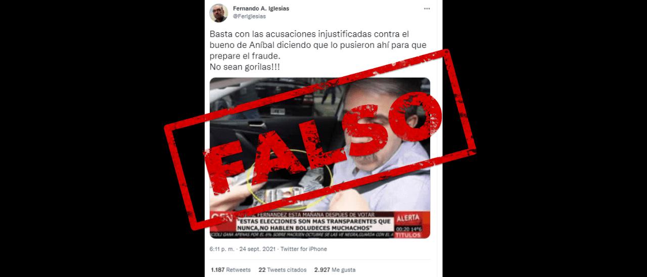 Es falsa la foto de Aníbal Fernández con boletas de la oposición en su auto