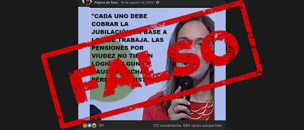 No, María Eugenia Vidal no dijo que las pensiones por viudez no tienen lógica