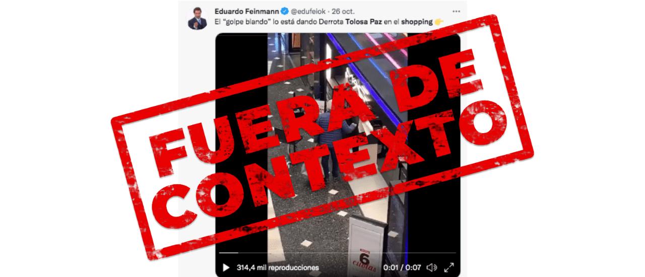 El video de Tolosa Paz comprando en un shopping es verdadero, pero fue filmado antes de las PASO y no ahora